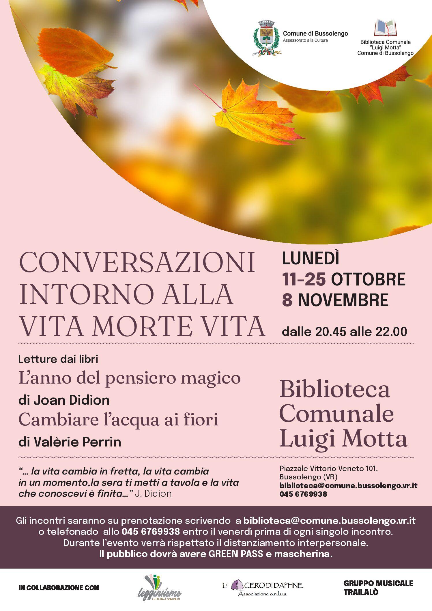 Conversazioni intorno alla vita morte vita a Bussolengo (Verona)